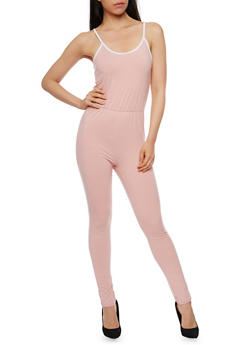 Spaghetti Strap Contrast Trim Jumpsuit - DUSTY ROSE/WHT - 0045058937719