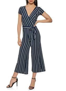 Striped Crepe Knit Wide Leg Jumpsuit - 0045060583275