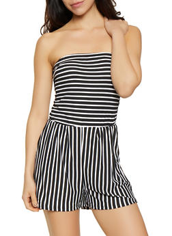 Soft Knit Striped Romper - 0045061630282