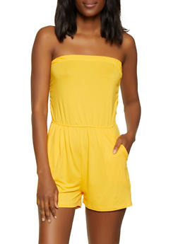 Solid Shirred Tube Romper - 0045061630283