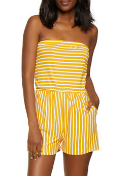 Striped Soft Knit Romper - 0045061632820