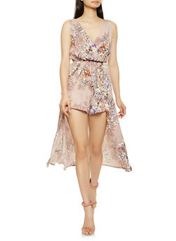 Printed Faux Wrap Overlay Romper - 0045069393766