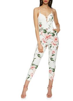 Floral Caged Neck Jumpsuit - 0045069395002