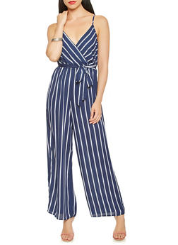 Striped Faux Wrap Jumpsuit - 0045069395006