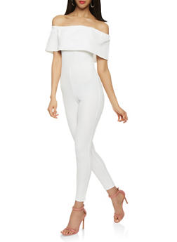 Textured Knit Off the Shoulder Jumpsuit - 0045069396974
