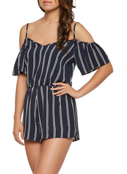 Striped Off the Shoulder Romper - 0045069396986