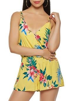 Floral Faux Wrap Romper - 0045069397931