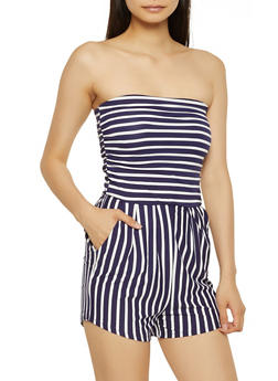 Striped Tube Romper - 0045073372701