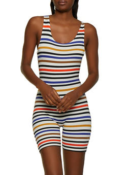 Horizontal Stripe Soft Knit Romper - 0045073378406