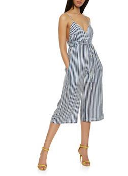 Striped Faux Wrap Cropped Jumpsuit - 0045074011028