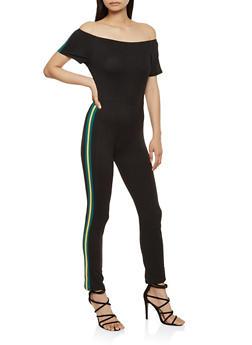 Side Stripe Off the Shoulder Jumpsuit - 0045074014221