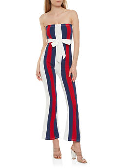Striped Textured Knit Jumpsuit - 0045074280523