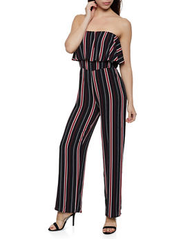 Striped Crepe Knit Tube Jumpsuit - 0045074281184