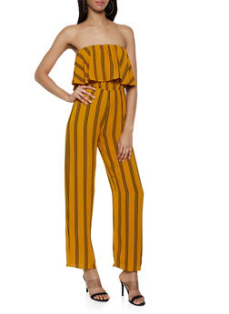 Striped Ruffle Tube Jumpsuit - 0045074281185