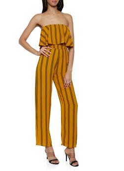 Striped Ruffle Tube Jumpsuit - 0045074281185