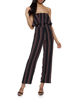 Striped Wide Leg Tube Jumpsuit - 0045074281186