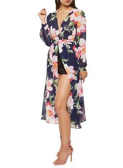 Front Slit Floral Overlay Romper - 0045074281506