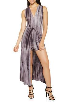 Faux Wrap Tie Dye Maxi Romper - 0045074281919