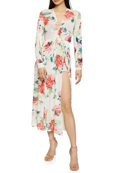 Floral Mesh Overlay Romper - 0045074282920