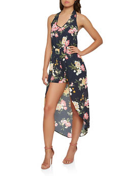 Floral Halter High Low Romper - 0045074283583