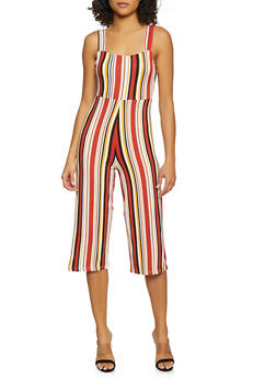 Striped Soft Knit Cropped Jumpsuit - 0045075179090