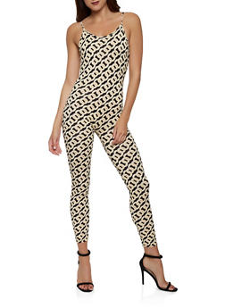 Soft Knit Chain Print Catsuit - 0045075179104