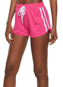 Soft Knit Varsity Stripe Dolphin Shorts - 0056001441350