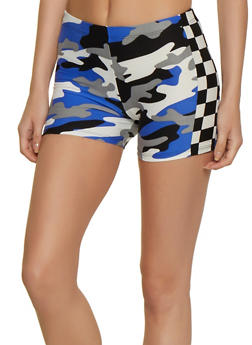 Camo Checkered Detail Bike Shorts - 0056001443531
