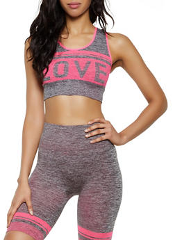 Marled Love Graphic Active Crop Top - 0058038347810