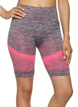 Marled Chevron Detail Bike Shorts - 0058038347821