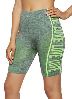Love Graphic Trim Seamless Active Bike Shorts - 0058038347831