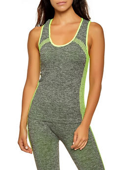 Marled Striped Detail Active Tank Top - 0058038347850
