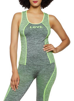 Love Mesh Print Active Tank Top - 0058038347860