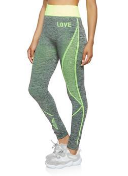 Love Mesh Print Leggings - 0058038347861