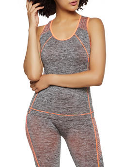 Striped Detail Active Racerback Tank Top - 0058038347870