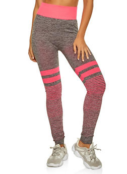 Striped Detail Active Leggings - 0058038347891