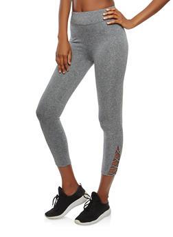 Cropped Lattice Detail Activewear Leggings - 0058054268570