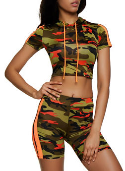 Camo Varsity Stripe Hooded Crop Top - 0058058750126