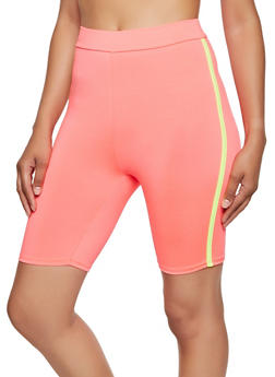Varsity Stripe Neon Bike Shorts - 0058058750890