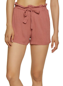 Lightweight Paper Bag Waist Shorts - 0060074010069