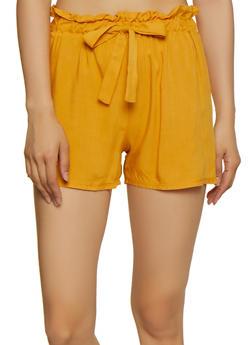 Lightweight Paper Bag Waist Shorts - 0060074010069