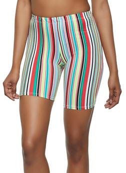 Multi Color Stripe Bike Shorts - 0060074015039