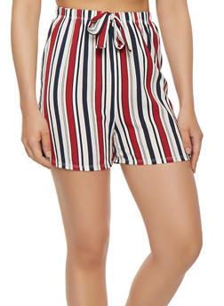 Striped Crepe Knit Shorts - 0060074015884