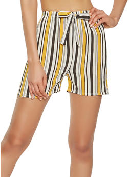 Striped Crepe Knit Shorts - 0060074015884