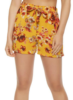 Floral Crepe Knit Shorts - 0060074015885