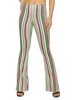 Flared Striped Soft Knit Pants - 0061074011963