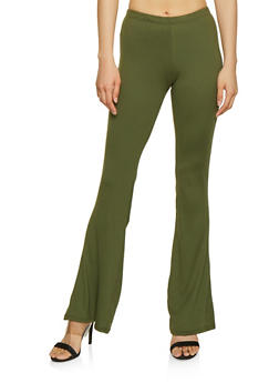 Solid Soft Knit Flared Pants - 0061074015024