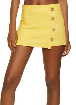 4 Button Linen Mini Skort - 0062051061809
