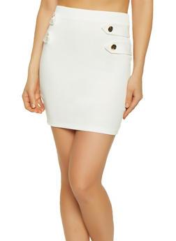 Tabbed Button Mini Skirt - White - Size M - 0062062415161