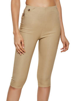 Button Detail Stretch Capris - 0066020624679
